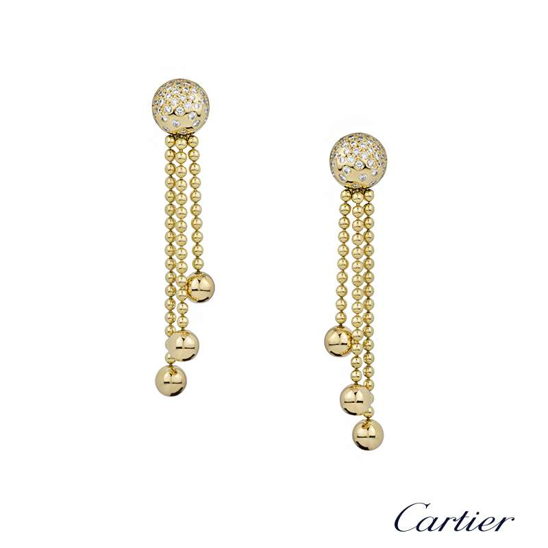 Cartier 18k Yellow Gold Draperie Diamond Set Drop Earrings